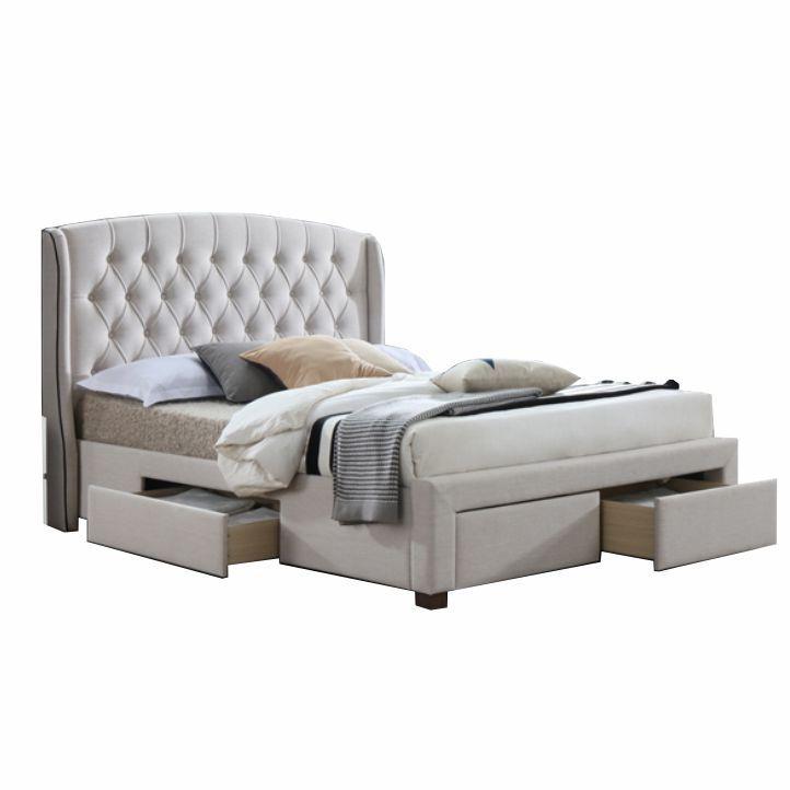 7ed7673ff6b7c Čalúnená manželská posteľ s roštom Akana 180 180x200 cm - krémová