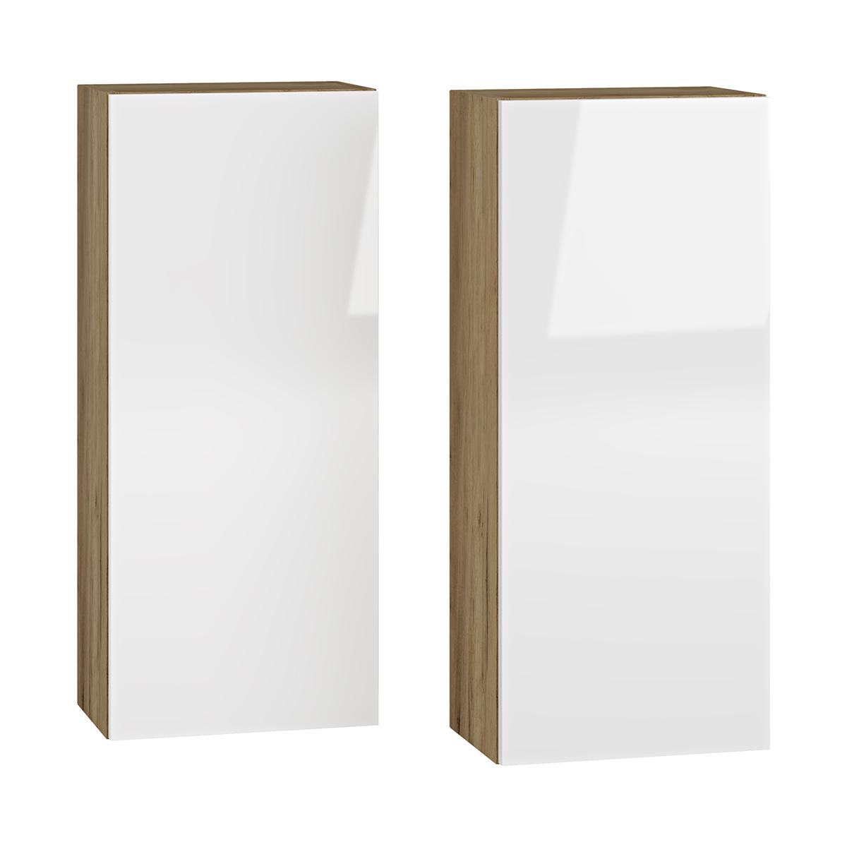 NABBI Baleta S2 kúpeľňová skrinka na stenu (2 ks) craft zlatý / biely lesk