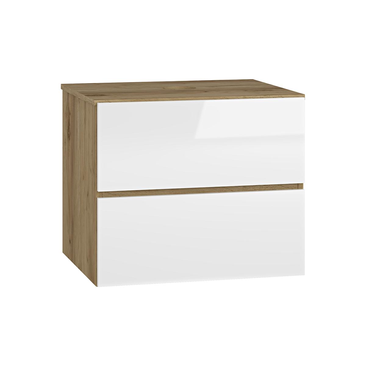 NABBI Baleta S60 kúpeľňová skrinka pod umývadlo craft zlatý / biely lesk