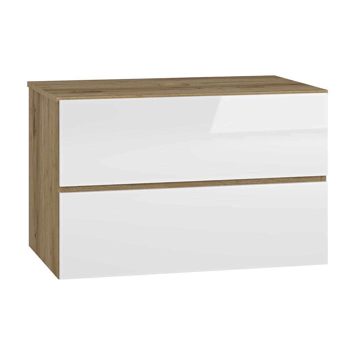 NABBI Baleta S80 kúpeľňová skrinka pod umývadlo craft zlatý / biely lesk