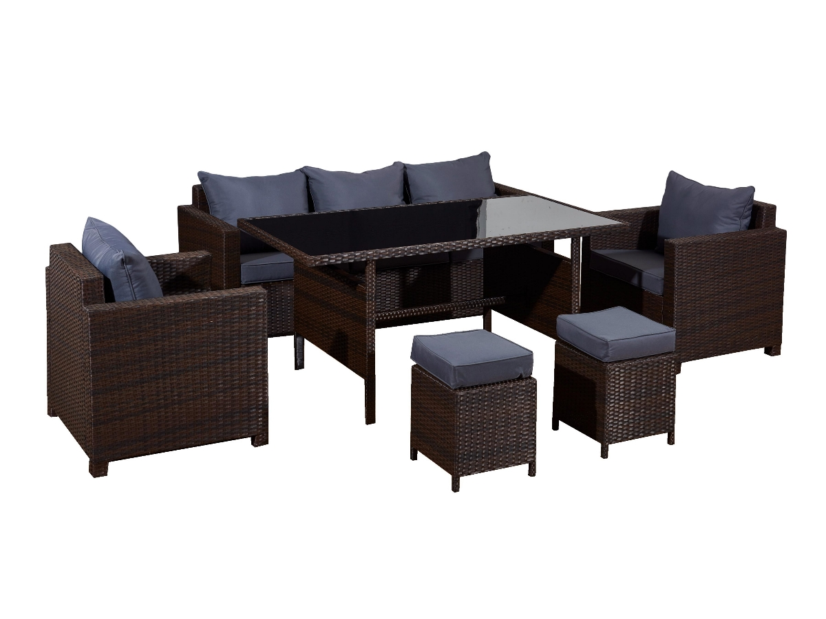 81b230286a5ea Záhradný nábytok z umelého ratanu Strano - hnedý melanž / sivá