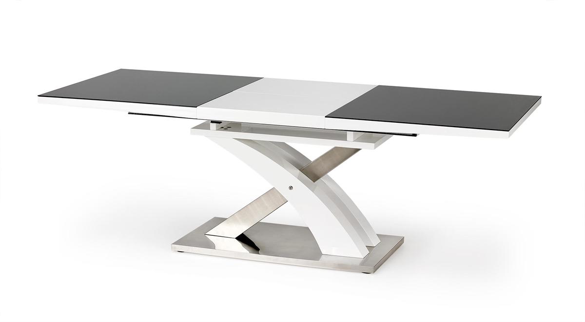 3689833716be9 ... Rozkladací jedálenský stôl Sandor 2 - čierny lesk / biely lesk /  nerezová ...