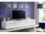 TV stolík Duo WW - biela / biely vysoký lesk