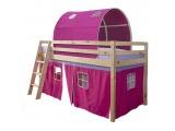 Drevená poschodová posteľ s roštom Indigo 90 - borovica / ružová