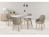 Okrúhly rozkladací jedálenský stôl Caliber - biely lesk / dub san remo