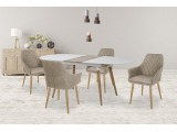 Oválny rozkladací jedálenský stôl Caliber - biela / dub san remo