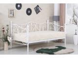 Kovová jednolôžková posteľ s roštom Sumatra 90 - biela