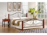 Kovová jednolôžková posteľ s roštom Violetta 120 - čerešňa antická / čierna