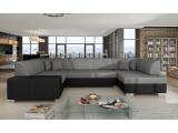 Rohová sedačka U s rozkladom a úložným priestorom Halvega L - sivá (Sawana 05) / čierna (Soft 11)