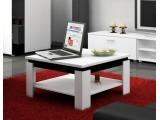 Konferenčný stolík Alfa - biely mat / čierny vysoký lesk
