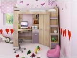 Zostava do detskej izby Antresola P - sonoma svetlá / levanduľa / fialová