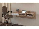 PC stolík na stenu Uno - sonoma svetlá / biely lesk