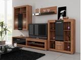 Obývacia stena Viki - slivka / čierny vysoký lesk