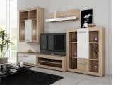 Obývacia stena Viki - sonoma svetlá / biely vysoký lesk