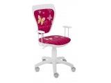 Detská stolička na kolieskach s podrúčkami Ministyle - biela / vzor butterfly