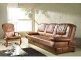 Kožená sedacia súprava s rozkladom Finka 3R+1+1 - drevo D3 / koža S42