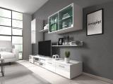 Obývacia stena s osvetlením Klara - biela / biely lesk