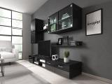 Obývacia stena s osvetlením Klara - čierna / čierny lesk