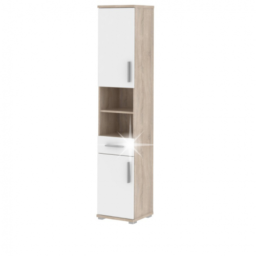 Kúpeľňová skrinka Lessy LI 5 - dob sonoma / biely vysoký lesk
