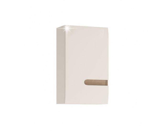 Kúpeľňová skrinka na stenu Lynatet 157 L - biela / biely vysoký lesk / dub sonoma truflový