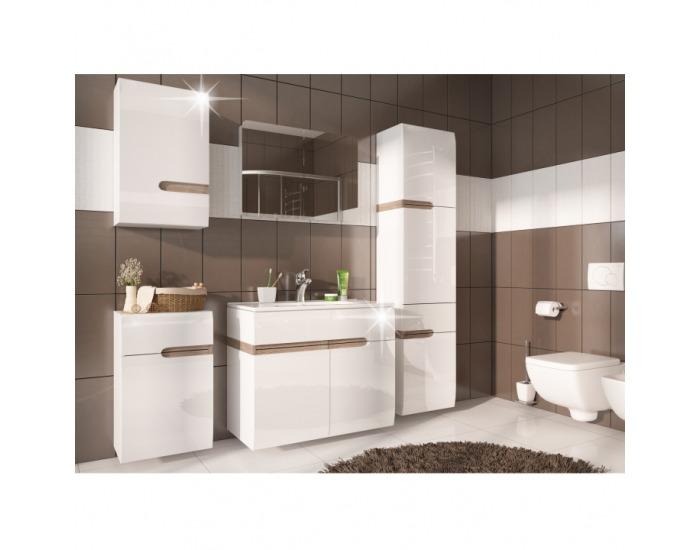 Kúpeľňa Lynatet - biela / biely vysoký lesk / dub sonoma truflový
