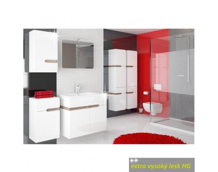 Kúpeľňová skrinka na stenu Lynatet 156 L - biela / biely vysoký lesk / dub sonoma truflový