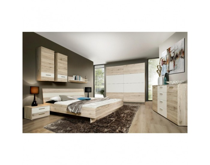 Manželská posteľ Valeria 180 - dub pieskový / biela