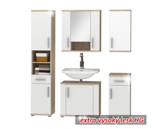 Kúpeľňa Lessy - dub sonoma / biely vysoký lesk