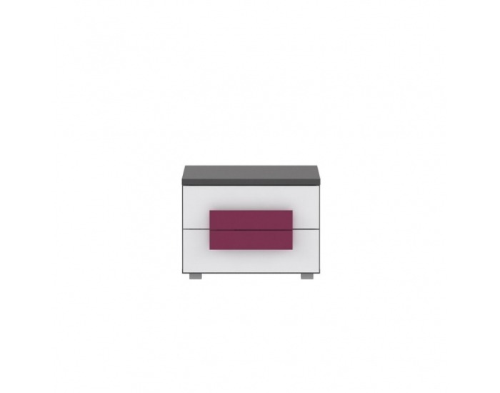 Nočný stolík Lobete 2 - sivá / biela / fialová