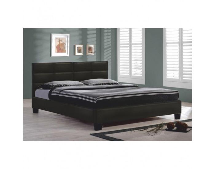 Čalúnená manželská posteľ s roštom Mikel 160 - čierna