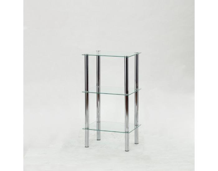 Regál Freddy 2 - chróm / číre sklo