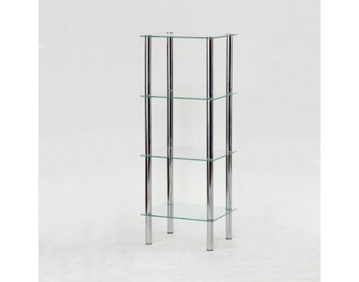 Regál Freddy 3 - chróm / číre sklo