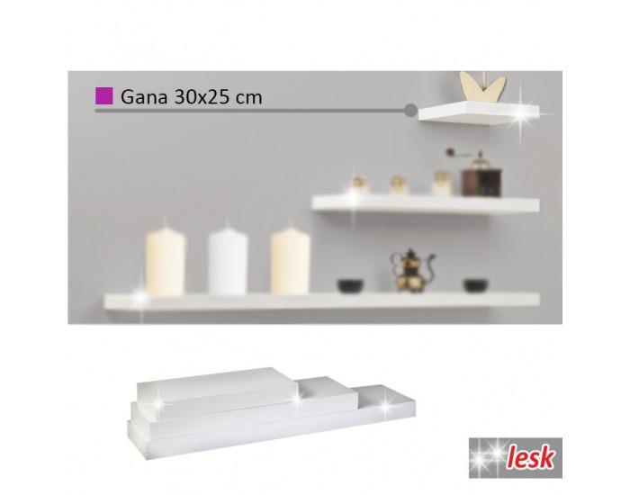Polica Gana 30x25 cm - biely lesk