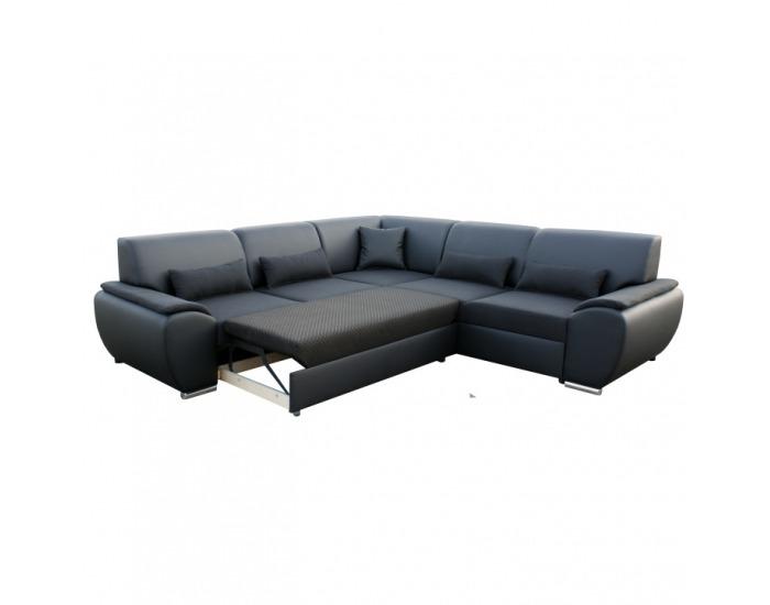 Rohová sedačka s rozkladom a úložným priestorom Emily P - čierna