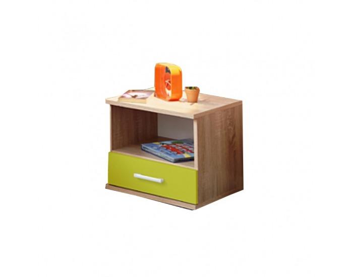 Nočný stolík Emio Typ 5 - dub sonoma / zelená