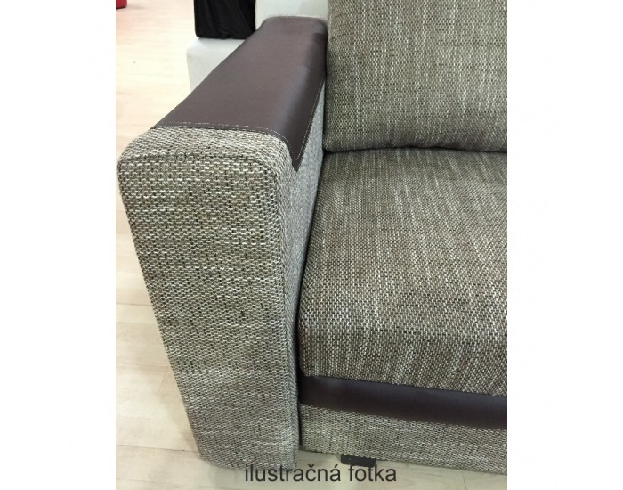 Rohová sedačka s rozkladom a úložným priestorom Bona L/P - tmavosivá látka / čierna ekokoža