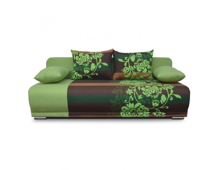 Rozkladacia pohovka s úložným priestorom Remi - zelená / vzor