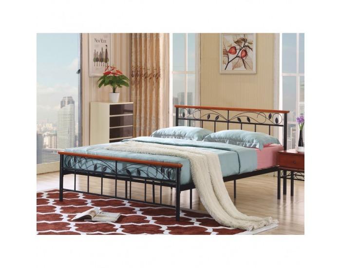 Kovová manželská posteľ s roštom Morena 160 - čierny kov / čerešňa