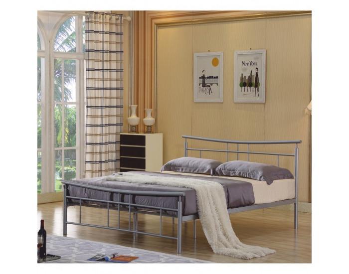 Kovová manželská posteľ s roštom Dorado 180 - matná strieborná