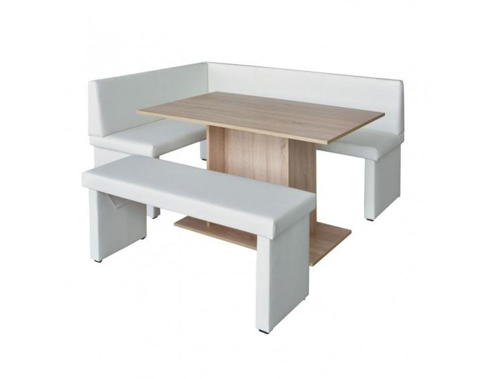 Čalúnená lavica do kuchyne Modern - biela