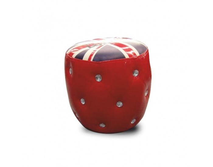 Taburetka London - červená / vzor