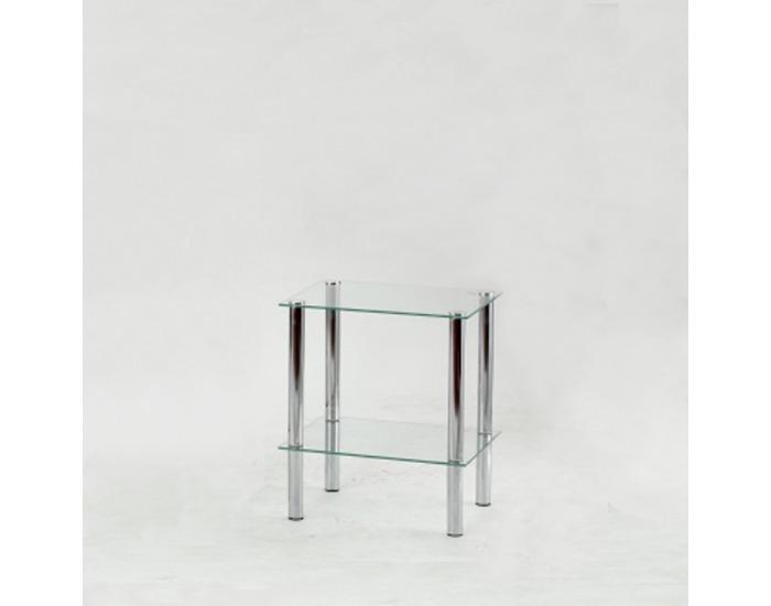 Regál Freddy 1 - chróm / číre sklo