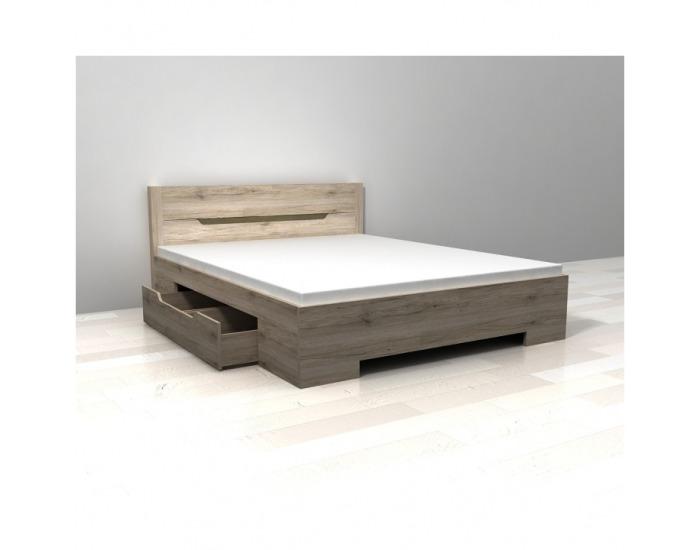 Manželská posteľ s úložným priestorom Betino DA-26 160 - dub sonoma tmavý