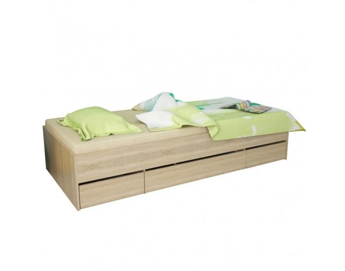 Jednolôžková posteľ s úložným priestorom Matiasi 90 - dub sonoma