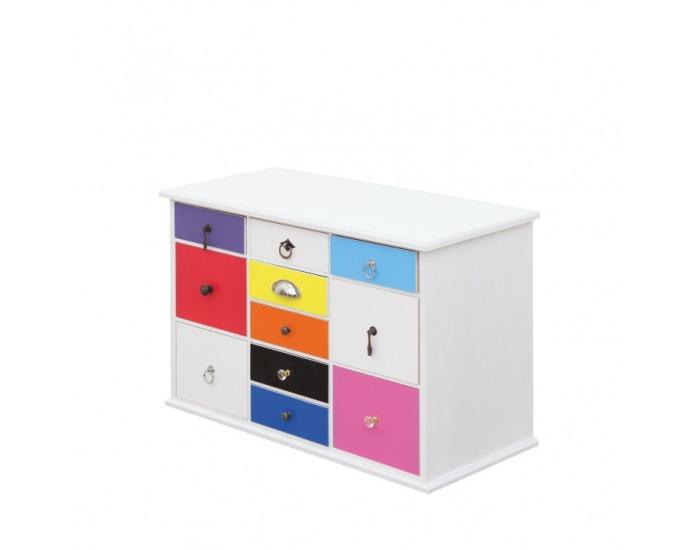 Komoda Baster 4 - biela / kombinácia farieb