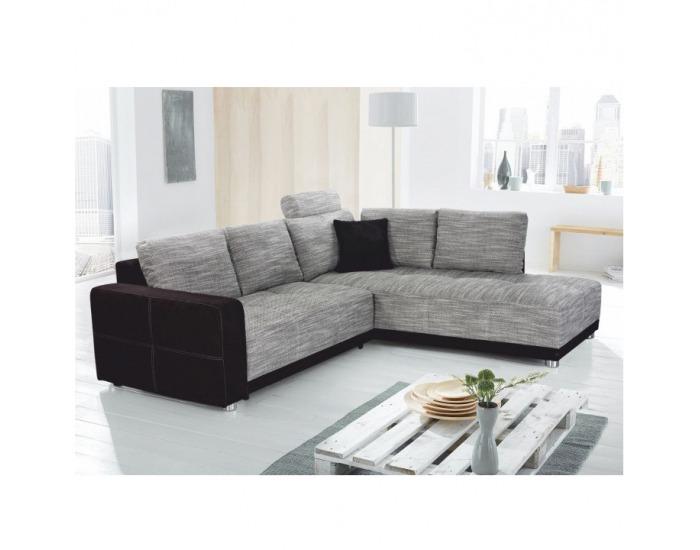 Rohová sedačka s rozkladom a úložným priestorom Orlan L/P - čierna / sivá melírovaná