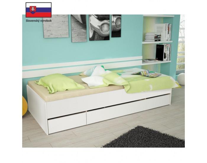 Jednolôžková posteľ s úložným priestorom Matiasi 90 - biela
