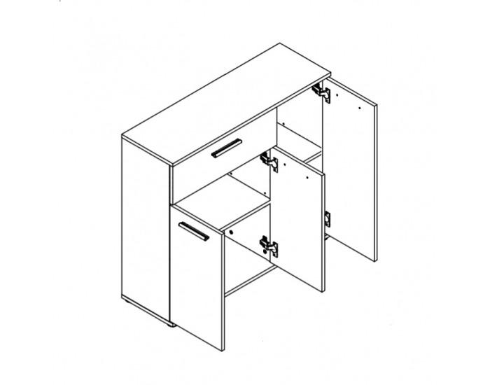 Trojdverová komoda Noko-Singa 34 - biela