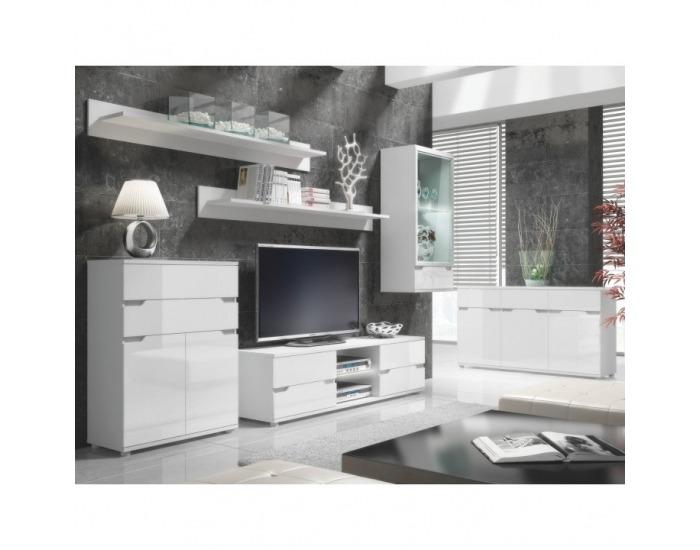Obývacia izba s osvetlením Adonis - biela / biely vysoký lesk