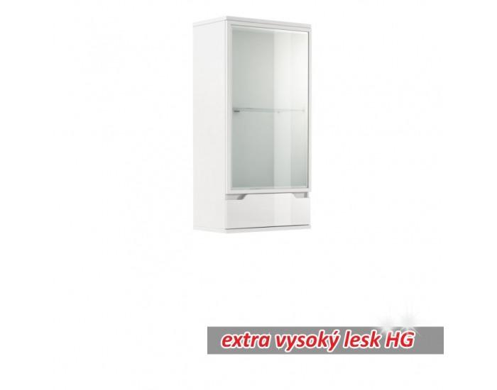 Vitrína na stenu s osvetlením Adonis AS 8 - biela / biely vysoký lesk